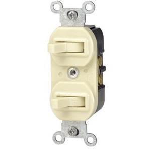 Leviton 5241-T Commercial Grade 1-Pole 3-Way Duplex Combination Switch 120/277 Volt 15 Amp Light Almond