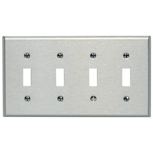 4 switch wall plate leviton 84012 430 stainless steel device mount standard size 4gang toggle switch wallplate