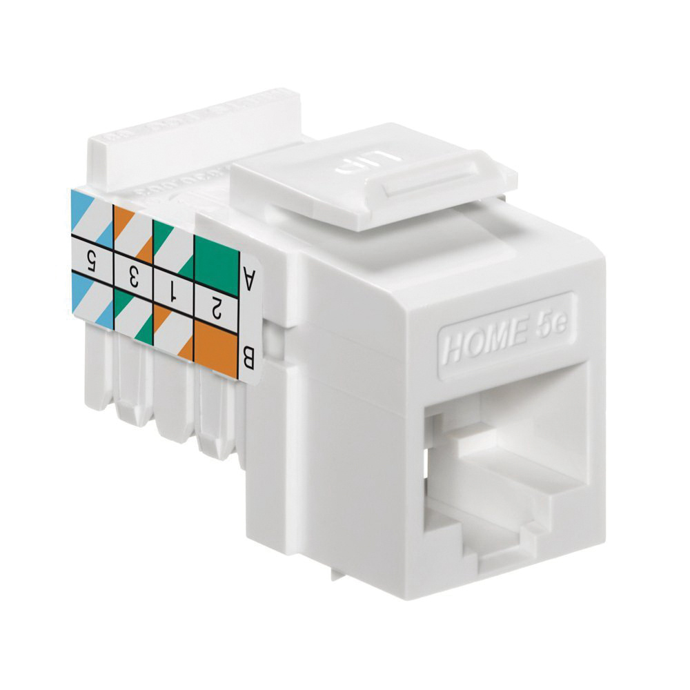Leviton 5EHOM-RW5 High Impact Fire-Retardant Plastic Snap-In Jack Connector  White Home 5e®