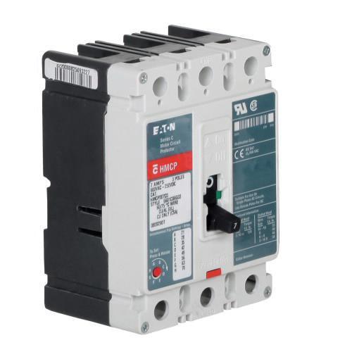 Eaton HMCP050K2C Panel Mount Type HMCP Molded Case Circuit Breaker 3-Pole 50 Amp 600 Volt AC 250 Volt DC