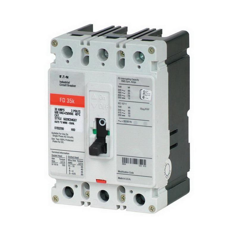 Eaton FD3200 Panel Mount Type FD Molded Case Circuit Breaker 3-Pole 200 Amp 600 Volt AC 250 Volt DC