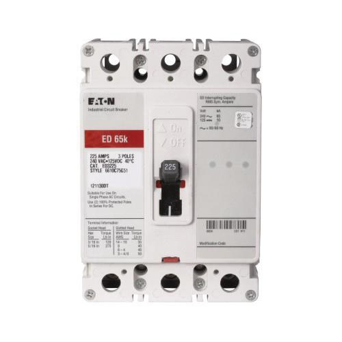 Eaton ED3200 Panel Mount Type ED Molded Case Circuit Breaker 3-Pole 200 Amp 240 Volt AC 125 Volt DC