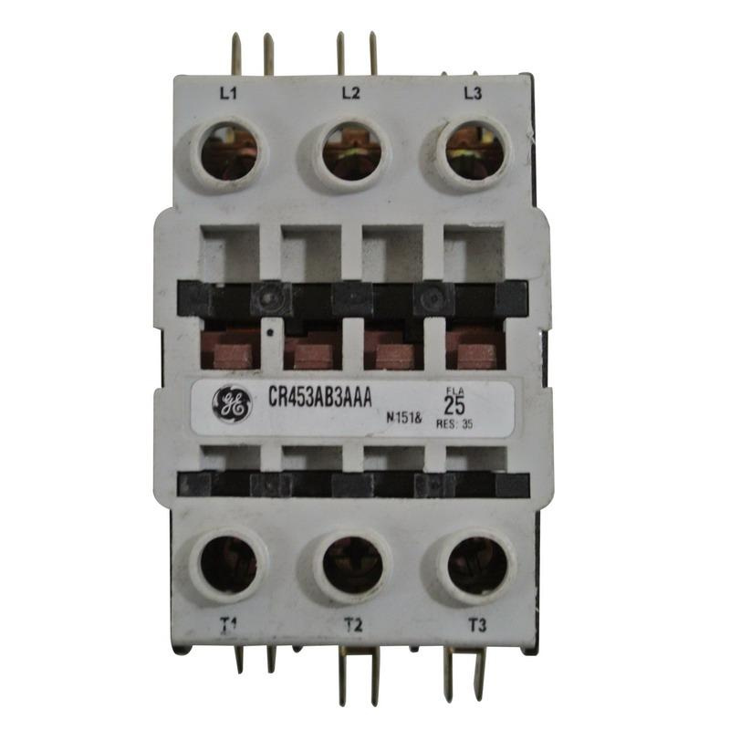 GE CR453AB3AAA 3 Pole Open Type CR453 Series Full Voltage Definite Purpose Contactor 25 Amp 110 - 120 Volt AC