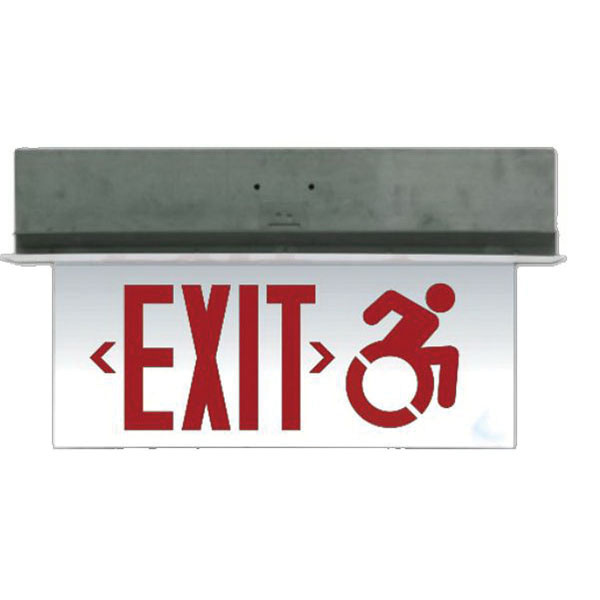 eelp swxectedgu 3gs ba sc em led exit sign brushed aluminum housing green letter 120277 volt ac exit signs exit emergency lighting lighting