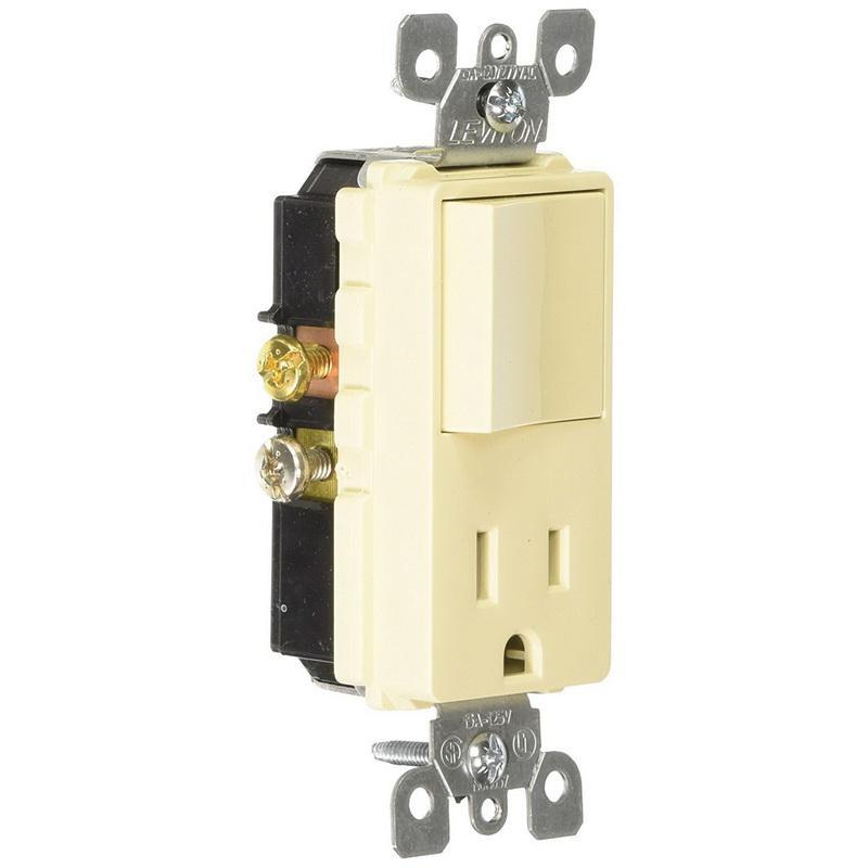 Leviton 5625-I 1-Pole AC Combination Receptacle Or Switch Device 120 Volt AC Switch 125 Volt AC Receptacle 15 Amp NEMA 5-15R Ivory Decora®