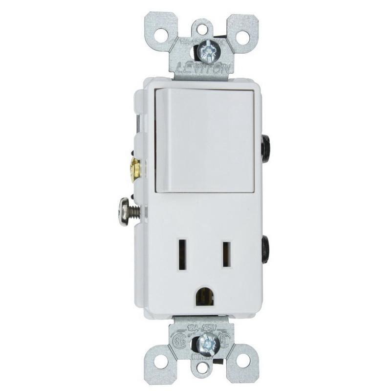 Leviton 5625-W 1-Pole AC Combination Receptacle Or Switch Device 120 Volt AC Switch 125 Volt AC Receptacle 15 Amp NEMA 5-15R White Decora®