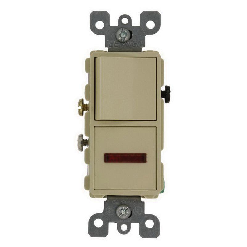 Leviton 5626-I 1-Pole AC Combination Switch With Neon Pilot 120 Volt AC Switch 125 Volt AC Light 12 Amp 15 Amp Switch NEMA 5-15R Ivory Decora®