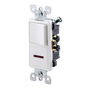 Leviton 5626-W 1-Pole AC Combination Switch With Neon Pilot 120 Volt AC Switch 125 Volt AC Light 12 Amp 15 Amp Switch NEMA 5-15R White Decora®