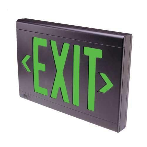Hubbell Lighting LXUGWE Emergency LX Series LED Exit Sign White Housing Green Letter 120/277 Volt Dual-Lite®