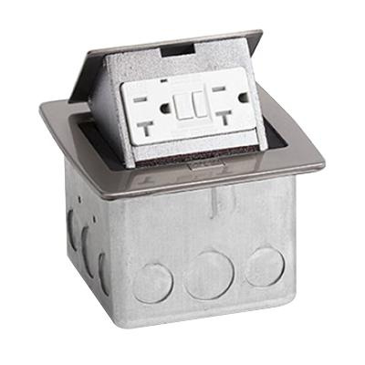 Lew PUFP-CT-SS Stainless Steel Pop Out Counter Top Plate Floor Box Assembly 4-7/8 Inch x 4-3/4 Inch x 3-1/2 Inch