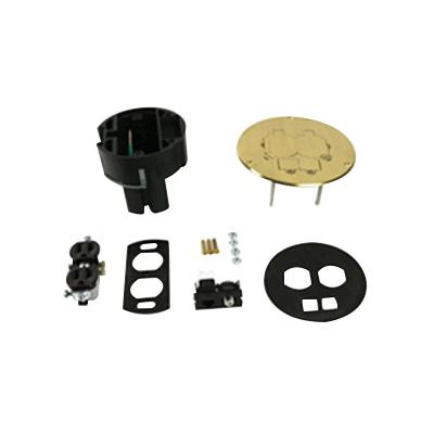 Wiremold 86pcom Non Metallic Round Dual Service Floor Box Kit 5 3 4