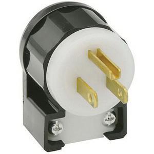 Leviton 5266-CA 3 Wire 2 Pole Angled Polarized Industrial Grade Straight Blade Plug 125 Volt 1-Phase 15 Amp NEMA 5-15P Black/White