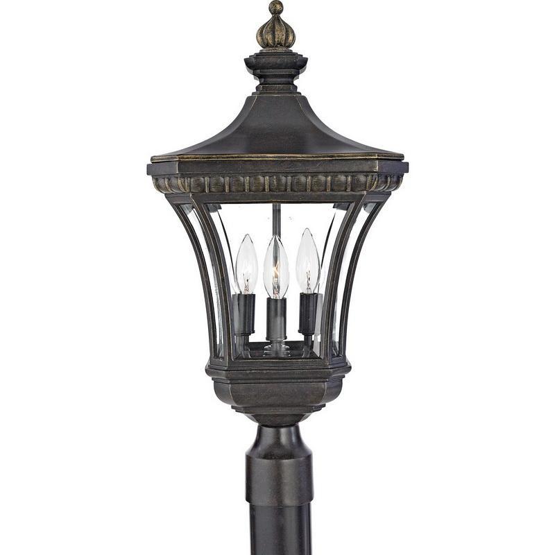 Quoizel Lighting DE9256IB 3-Light Outdoor Post Lantern 60 Watt 120 Volt Imperial Bronze Devon