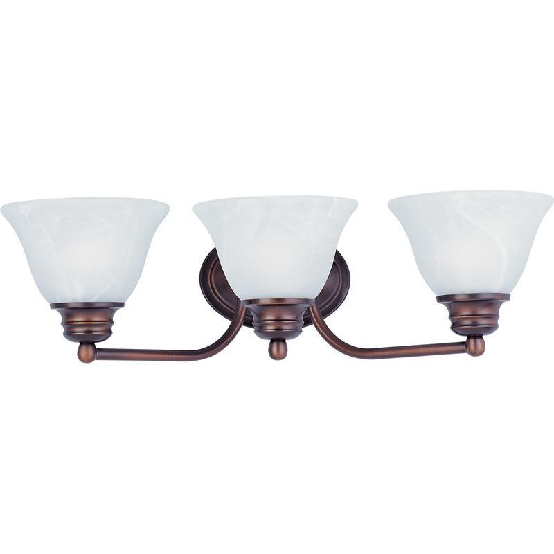 Maxim Lighting 2688MROI 3-Light Classic Up/Down Mount Bath and Vanity Fixture 100 Watt 120 Volt Oil Rubbed Bronze Malaga