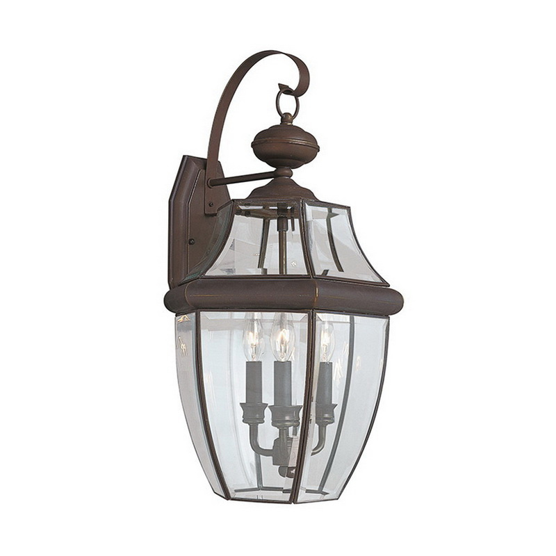 Sea Gull Lighting 8040-71 3-Light Outdoor Wall Lantern 40 Watt 120 Volt Antique Bronze Lancaster