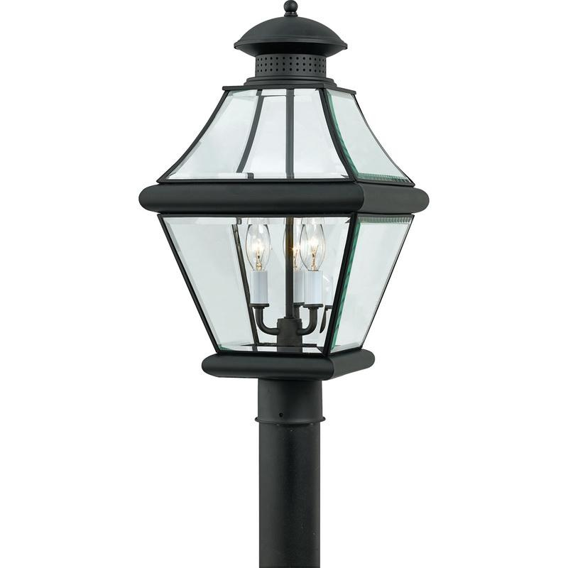 Quoizel Lighting RJ9011K 3-Light Outdoor Post Lantern 60 Watt 120 Volt Mystic Black Rutledge