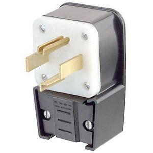Leviton 9432-P 4 Wire 3 Pole Angled Industrial Grade Straight Blade Plug 125/250 Volt 3-Phase 30 Amp NEMA 14-30P Black