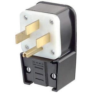 Leviton 9452-P 4 Wire 3 Pole Angled Industrial Grade Straight Blade Plug 125/250 Volt 3-Phase 50 Amp NEMA 14-50P Black