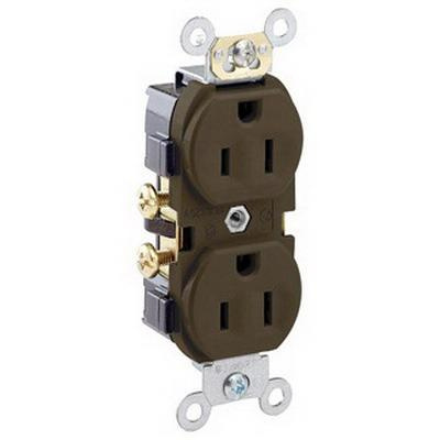 Leviton CR15 Commercial Grade Tamper-Resistant Tamper and Impact-Resistant Narrow Body Heavy-Duty Straight Blade Duplex Receptacle 15 Amp 125 Volt NEMA 5-15R Brown Decora®