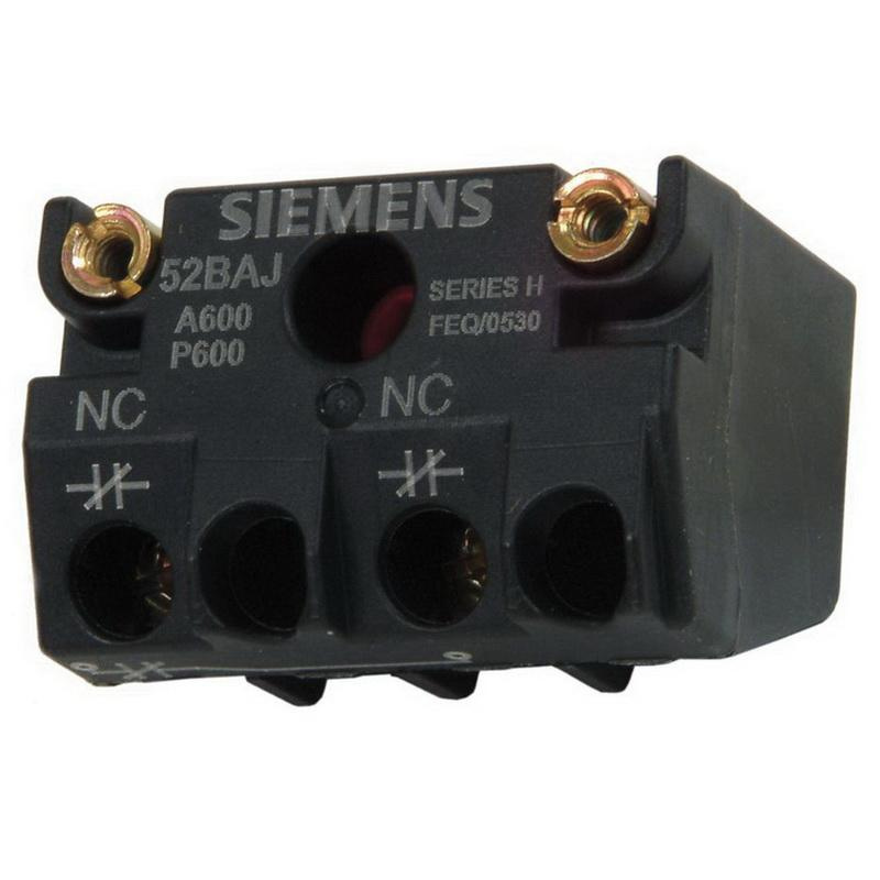 Siemens 52BAJ Heavy-Duty Touchsafe Contact Block Screw Terminal 1 NC Black Max™
