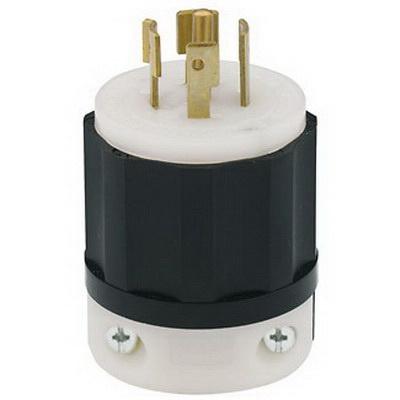 Leviton 2521 5-Wire 4-Pole Industrial Grade Polarized Locking Plug  277/480-Volt 3-Phase 20-Amp NEMA L22-20P Black/White