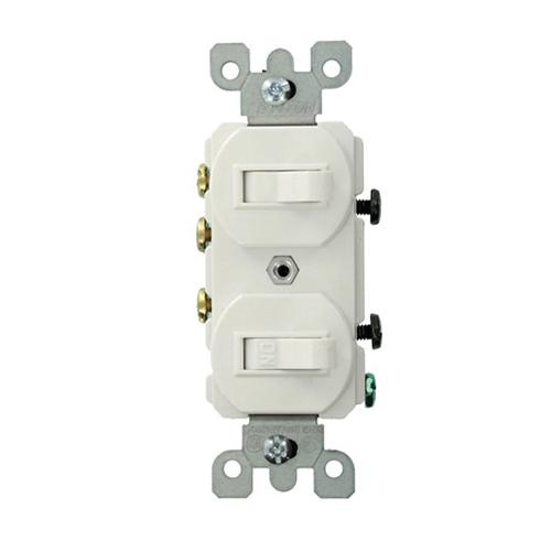 Leviton 5241-WS 120/277 Volt AC 15 Amp 1-Pole 3-Way Duplex Commercial Grade AC Combination Switch White