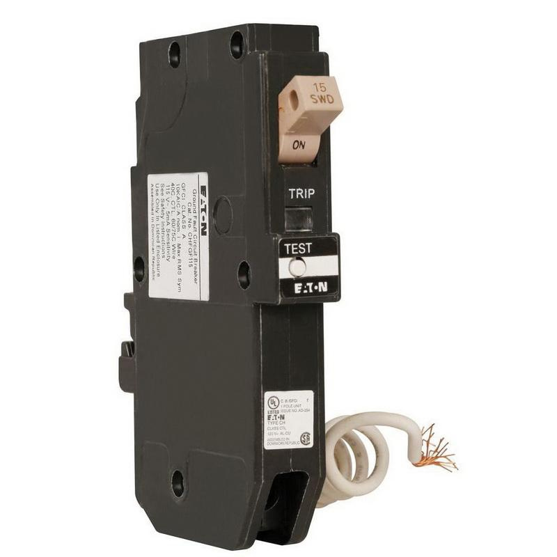 Eaton CHFGF115 Plug-In Mount Type CHF Ground Fault Circuit Breaker 1-Pole 15 Amp 120 Volt AC