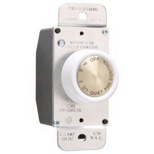 Pass & Seymour 94004-W 120 Volt 1.5 Amp 4-Speed Residential Specification Grade Rotary Fan Speed Control White TradeMaster®