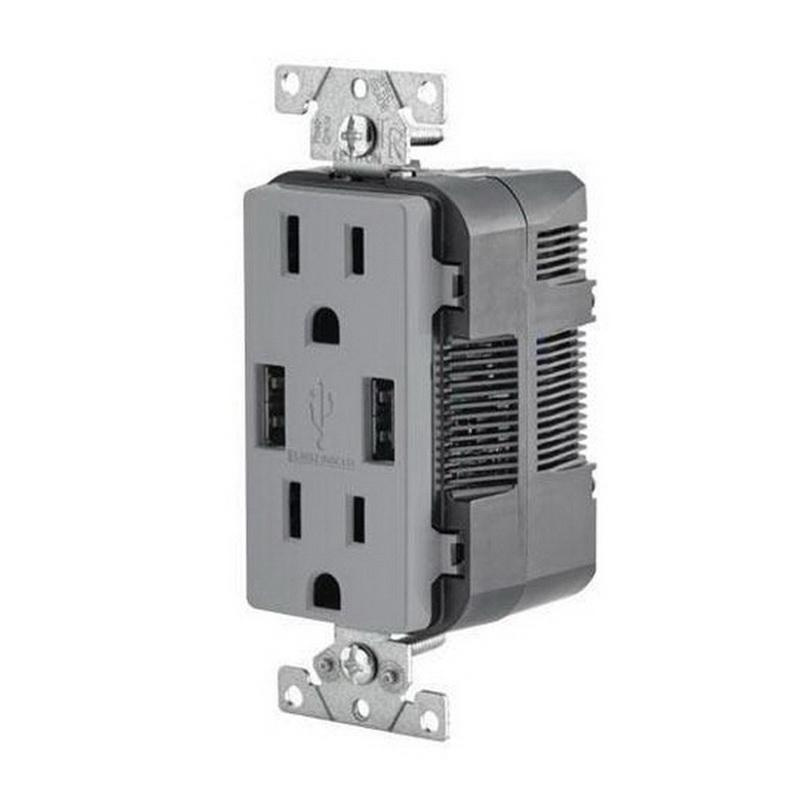 Leviton T5632-GY Residential Grade Tamper-Resistant Combination Decorator Straight Blade Duplex Receptacle/Outlet and USB Charger 15 Amp 125 Volt NEMA 5-15R Gray Decora®