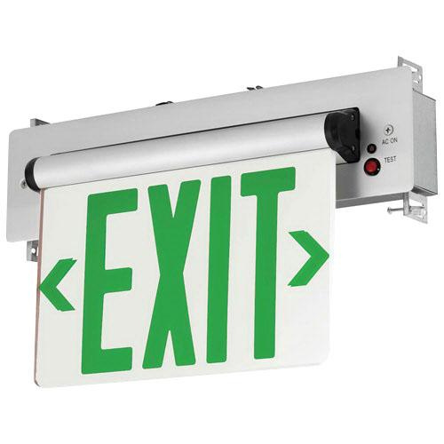 Hubbell Lighting CELR1GNE Emergency CEL Series Single Face LED Edge-Lit Exit Sign Brushed Aluminum Housing Green Letter 120/277 Volt Compass®