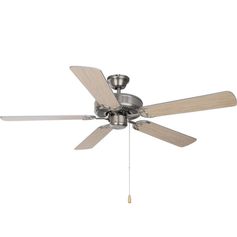 Maxim Lighting 89905SN Basic-Max Ceiling Fan 52 Inch Blade Silver/Maple Iron