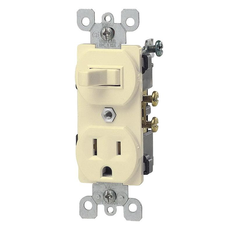 Leviton 5225-I 1-Pole Duplex AC Combination Receptacle Or Switch Device 120 Volt AC Switch 125 Volt AC Receptacle 15 Amp NEMA 5-15R Ivory