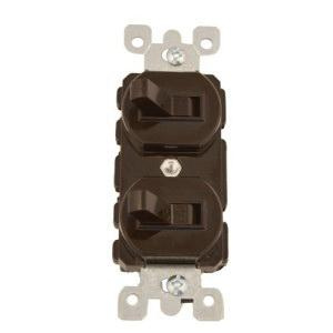 Leviton 5241 120/277 Volt AC 15 Amp 1-Pole 3-Way Duplex Commercial Grade AC Combination Switch Brown