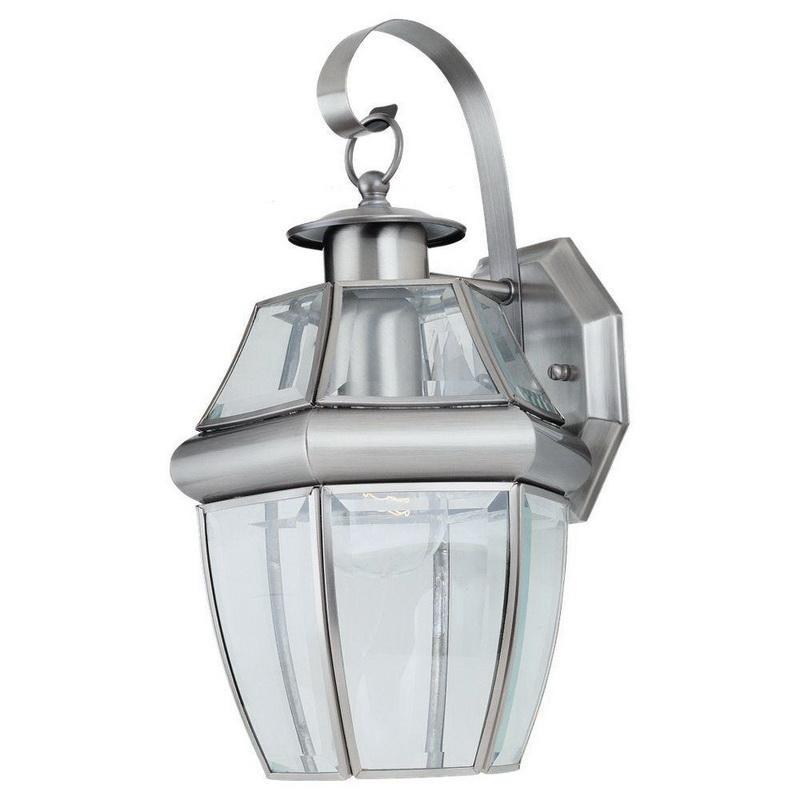 Sea Gull Lighting 8067-965 1-Light Outdoor Wall Lantern 100 Watt 120 Volt Antique Brushed Nickel Lancaster