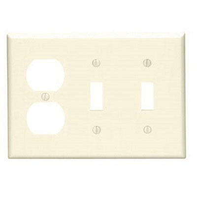 Leviton 80721-I Thermoplastic Nylon Device Mount Standard Size 3-Gang  Combination Wallplate (2) Toggle Switch + (1) Duplex Receptacle Ivory