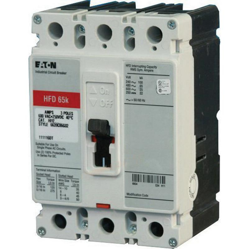 Eaton HFD3025 Panel Mount Type HFD Molded Case Circuit Breaker 3-Pole 25 Amp 600 Volt AC 250 Volt DC