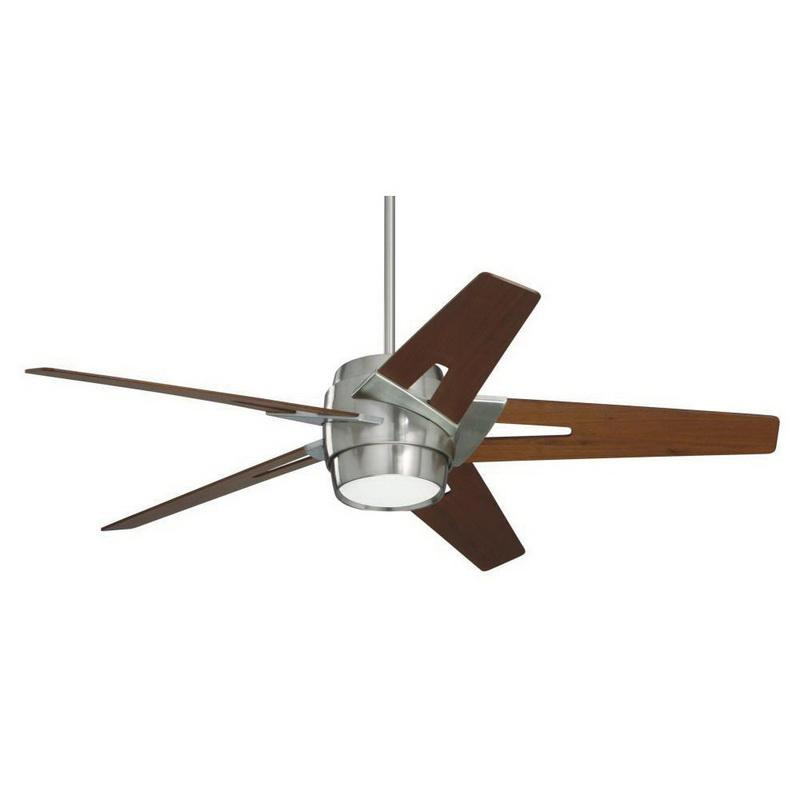 Emerson CF550WABS Luxe Eco Ceiling Fan With Light 54 Inch 5 Blade 6 Speed Brushed Steel